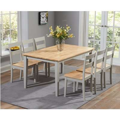 Mark Harris Chichester Oak and Grey 150cm Dining Set - 6 Dining Chairs