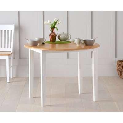 Mark Harris Genovia Oak and White Round Drop Leaf Extending Dining Table - 60cm-100cm