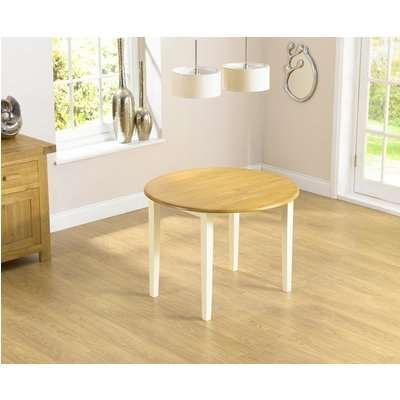 Mark Harris Genovia Solid Oak Round Drop Leaf Extending Dining Table - 60cm-100cm