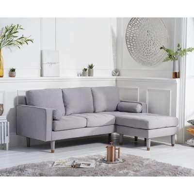 Mark Harris Liam Grey Linen Fabric 3 Seater Reversible Chaise Sofa