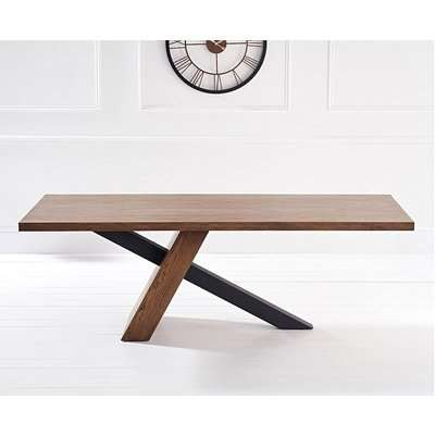 Mark Harris Montana Unusual Oak and Veneer 225cm Rectangular Dining Table with Black Stainless Steel Legs