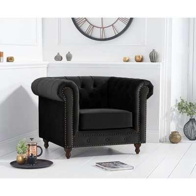 Mark Harris Montrose Chesterfield Black Velvet Armchair