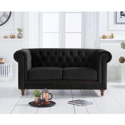 Mark Harris Montrose Chesterfield Black Velvet 2 Seater Sofa