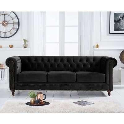 Mark Harris Montrose Chesterfield Black Velvet 3 Seater Sofa