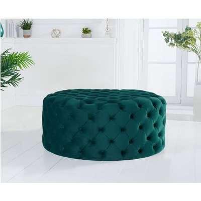 Mark Harris Montrose Green Velvet Round Footstool