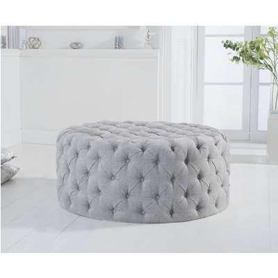 Mark Harris Montrose Grey Plush Round Footstool