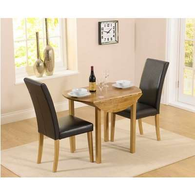Mark Harris Promo Oak Round Drop Leaf Extending Dining Table and 2 Atlanta Black Faux Leather Chairs