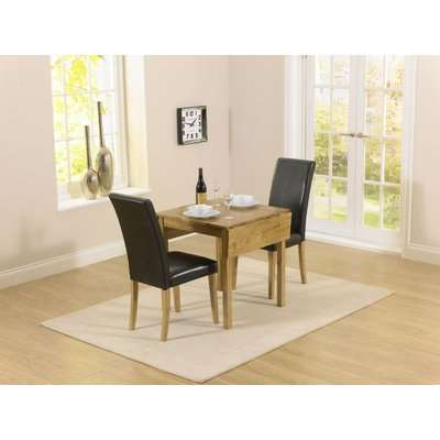 Mark Harris Promo Oak Square Drop Leaf Extending Dining Table and 2 Atlanta Black Faux Leather Chairs