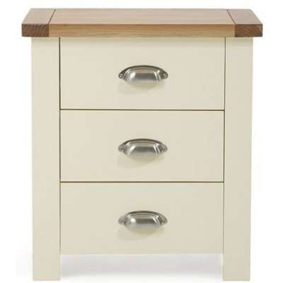 Mark Harris Sandringham Oak and Cream 3 Drawer Bedside Table