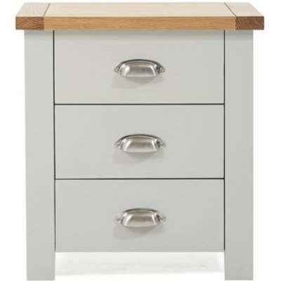 Mark Harris Sandringham Oak and Grey 3 Drawer Bedside Table