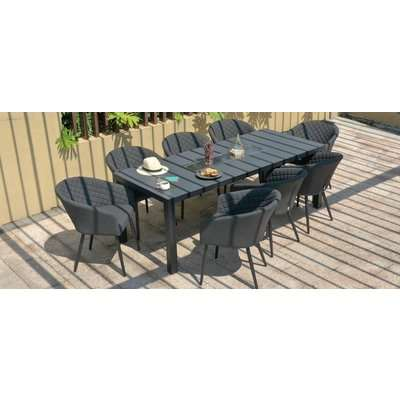 Maze Lounge Outdoor Ambition Charcoal Fabric 8 Seat Rectangular Dining Set with Fire Pit Table