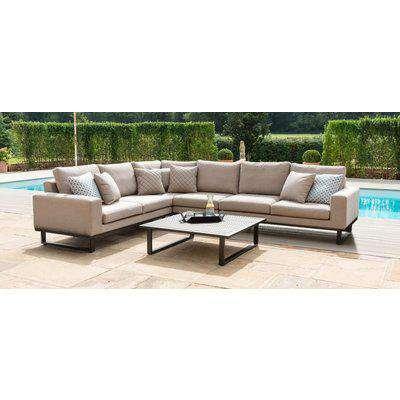 Maze Lounge Outdoor Ethos Taupe Fabric Large Corner Sofa Group