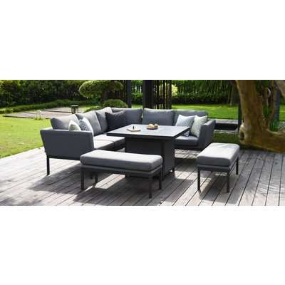 Maze Lounge Outdoor Pulse Flanelle Fabric Square Corner Dining Set with Fire Pit Table