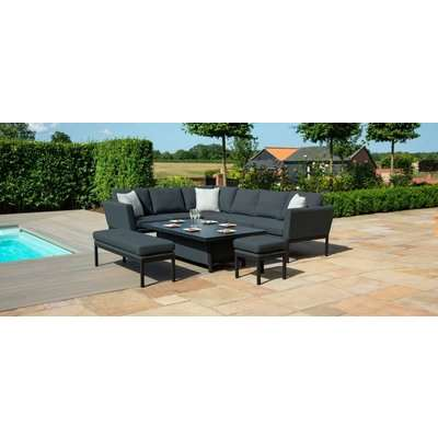 Maze Lounge Outdoor Pulse Lead Chine Fabric Rectangular Corner Dining Set with Fire Pit Table