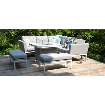Maze Lounge Outdoor Pulse Lead Chine Fabric Square Corner Dining Set with Fire Pit Table