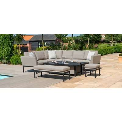 Maze Lounge Outdoor Pulse Taupe Fabric Rectangular Corner Dining Set with Fire Pit Table