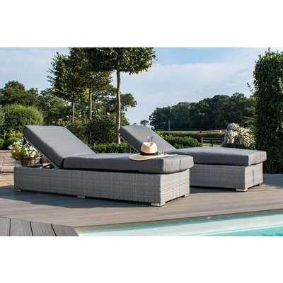 Maze Rattan Ascot Sun Lounger Set with Weatherproof Cushions
