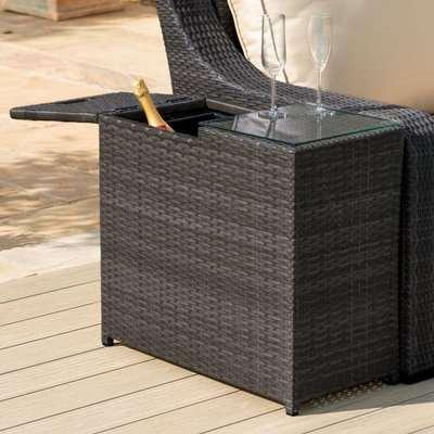 Maze Rattan Flat Weave Brown Ice Bucket Side Table