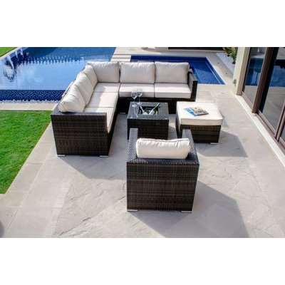 Maze Rattan Flat Weave London Brown Corner Sofa Set with Ice Bucket