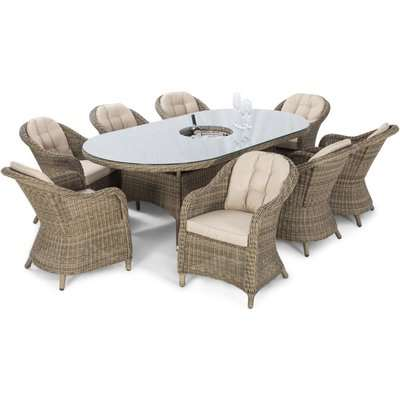 Maze Rattan Winchester Heritage 8 Seat Oval Dining Set with Ice Bucket and Lazy Susan