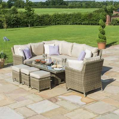 Maze Rattan Winchester Corner Dining Set with Armchair, Ice Bucket and Rising Table