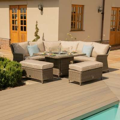 Maze Rattan Winchester Royal Corner Dining Sofa Set with Fire Pit Table