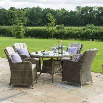 Maze Rattan Winchester Venice 6 Seat Round Dining Set with Ice Bucket and Lazy Susan