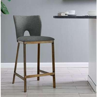Neston Brass and Grey Linen Fabric Barstool