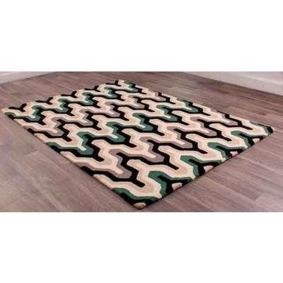 New Art Marley Green Black Geometric Wool Rug