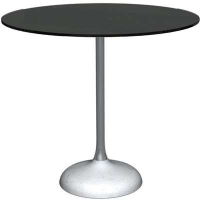 Notting Black Glass Top and Black Chrome Column 80cm Round Dining Table with Concrete Base
