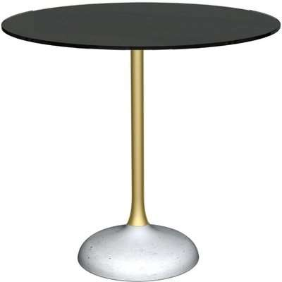 Notting Black Glass Top and Brass Column 80cm Round Dining Table with Concrete Base