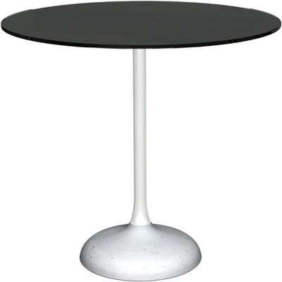 Notting Black Glass Top and White Gloss Column 80cm Round Dining Table with Concrete Base