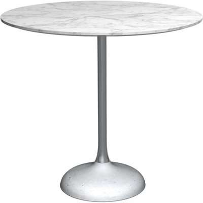 Notting White Marble Top and Black Chrome Column 80cm Round Dining Table with Concrete