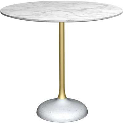 Notting White Marble Top and Brass Column 80cm Round Dining Table with Concrete Base