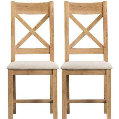 Tucson Oak Cross Back Fabric Seat Dining Chair (Pair)