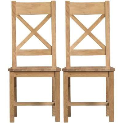 Tucson Oak Cross Back Wooden Seat Dining Chair (Pair)