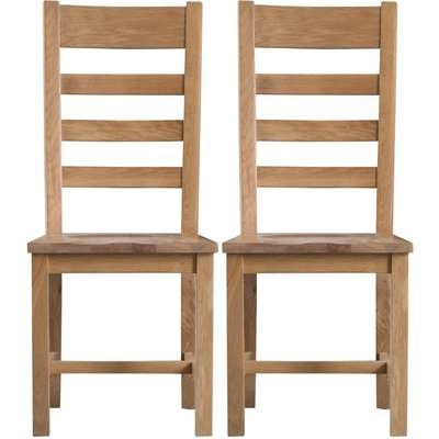 Tucson Oak Ladder Back Wooden Seat Dining Chair (Pair)