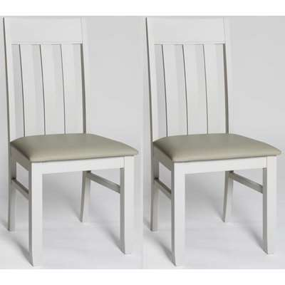 Ohio Painted Slat Back Padded Dining Chair (Pair)