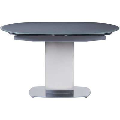 Olivia Grey Glass Grand Swivel Dining Table with Brushed Stainless Steel Base - 130cm-190cm Rectangular Extending