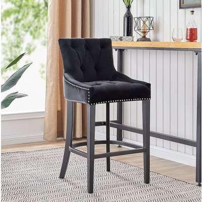 Olney Grey Velvet Fabric Barstool