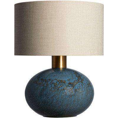 Heathfield Orion Steel Glass Table Lamp with Sandstone Glaze Linen Shade