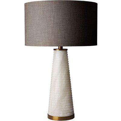 Heathfield Piera Alabaster Table Lamp with Gunmetal Glaze Linen Shade
