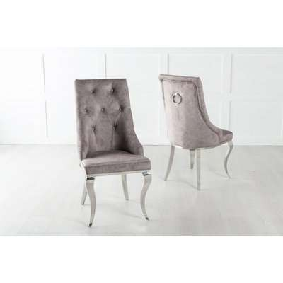 Premiere French Knocker Dining Chair With Chrome Polished Metal Legs - Beige Velvet