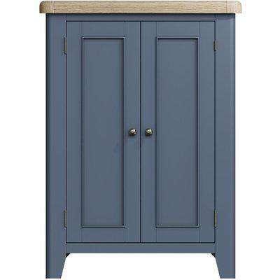 Ringwood Blue Painted Shoe Cupboard - Oak Top