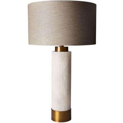 Heathfield Roca Alabaster Table Lamp with Birch Glaze Linen Shade