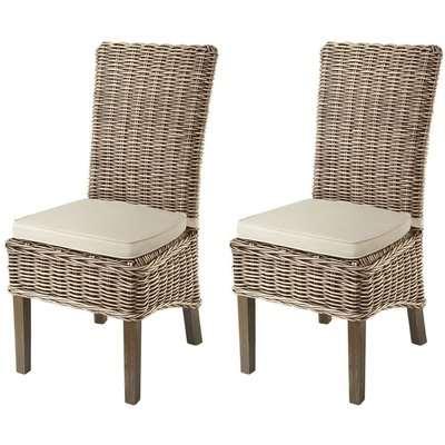 Rowico Maya Rattan Dining Chair with Stone Loose Cushion (Pair) - Grey Wash