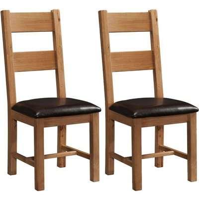 Rustic Oak Ladder Back Dining Chair (Pair) - Devonshire Furniture