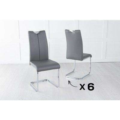 Set of 6 Nikko Dark Grey Leather Handle Back Dining Chair with Brushed Stainless Steel Cantiliver Base