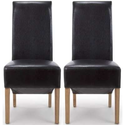 Shankar Krista Black Bonded Leather Roll Back Accent Dining Chair (Pair)