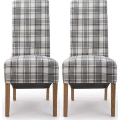 Shankar Krista Cappuccino Herringbone Check Roll Back Fabric Accent Dining Chair (Pair)
